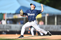 Asheville Tourists starting pitcher Colten Schmidt (1) delivers a pitch during a game against the Lakewood BlueClaws at McCormick Field on June 15, 2019 in Asheville, North Carolina. The BlueClaws defeated the Tourists 4-2. (Tony Farlow/Four Seam Images)