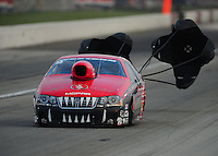 Sept. 3, 2011; Claremont, IN, USA: NHRA pro stock driver V. Gaines during qualifying for the US Nationals at Lucas Oil Raceway. Mandatory Credit: Mark J. Rebilas-