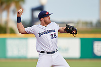 Pensacola Blue Wahoos Shrimp third baseman Mitch Nay (28) throws to first base during a game against the Jacksonville Jumbo on August 15, 2018 at Blue Wahoos Stadium in Pensacola, Florida.  Jacksonville defeated Pensacola 9-2.  (Mike Janes/Four Seam Images)