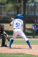 AZL Dodgers center fielder Aldrich De Jongh (51) at bat during an Arizona League game against the AZL Padres 2 at Camelback Ranch on July 4, 2018 in Glendale, Arizona. The AZL Dodgers defeated the AZL Padres 2 9-8. (Zachary Lucy/Four Seam Images)