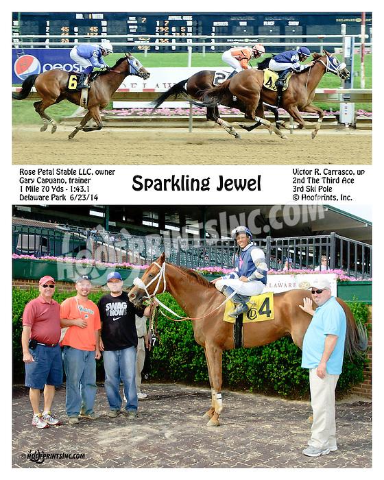 Sparkling Jewel winning at Delaware Park racetrack on 6/23/14