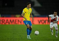 5th July 2021; Nilton Santos Stadium, Rio de Janeiro, Brazil; Copa America, Brazil versus Peru; Danilo of Brazil and Christian Cueva of Peru