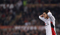 Calcio, Champions League, Gruppo E: Roma vs Bayer Leverkusen. Roma, stadio Olimpico, 4 novembre 2015.<br /> Bayer Leverkusen's Javier Hernandez reacts during a Champions League, Group E football match between Roma and Bayer Leverkusen, at Rome's Olympic stadium, 4 November 2015.<br /> UPDATE IMAGES PRESS/Isabella Bonotto