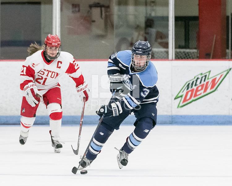 Boston, Massachusetts - February 19, 2017: NCAA Division I. Boston University (white) defeated University of Maine (blue), 5-0, at Walter Brown Arena.