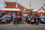 Crewe Alexandra 1 Leyton Orient 2, 18/01/2014. Gresty Road, League One. Spectators waiting outside the Alexandra Stadium on Gresty Road, Crewe, the home of Crewe Alexandra before their home game against Leyton Orient in the SkyBet League One. The match was won by the visitors from London by 2-1 with two goals on debut by Chris Dagnall, sending Orient to the top of the league. The match was watched by 4830 spectators. Photo by Colin McPherson.