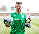 09.02.2020 BSC Glasgow v Hibs: Marc McNulty with matchball and man of the match champagne
