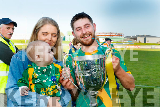 Niamh Carmody and Sean Óg and Sean Nolan, pictured at the Senior Hurling final Kilmoyley v Causeway at Austin Stack Park, Tralee, on Sunday last.