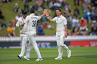 NZ's Trent Boult celebrates the dismissal of Mayank Agarwal during the International Test Cricket match between the New Zealand Black Caps and India at the Basin Reserve in Wellington, New Zealand on Friday, 21 February 2020. Photo: Dave Lintott / lintottphoto.co.nz