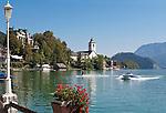 Austria, Upper Austria, Salzkammergut, St. Wolfgang at Lake Wolfgang with pilgrimage church St.Wolfgang