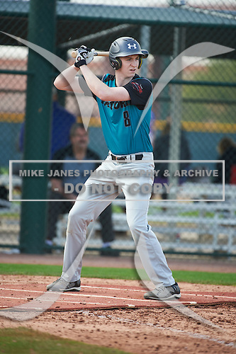 Brody Jessee (8) of SOUTH ANCHORAGE High School in Anchorage, Alaska during the Under Armour All-American Pre-Season Tournament presented by Baseball Factory on January 14, 2017 at Sloan Park in Mesa, Arizona.  (Art Foxall/Mike Janes Photography)