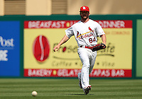 St Louis Cardinals outfielder Shane Robinson #64 fields a ground ball during a spring training game against the Detroit Tigers at Roger Dean Stadium on March 28, 2012 in Jupiter, Florida.  Cardinals defeated the Tigers 9-5.  (Mike Janes/Four Seam Images)