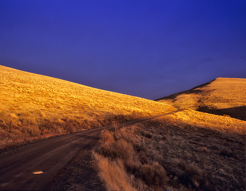 Road in meadow grass with thunderstorm. Near Jorden Valley. Oregon.