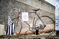authentic (rusted) bike of 1947 Tour de France winner Jean Robic displayed by his nephew by the roadside on todays parcours<br /> <br /> Stage 3 from Lorient to Pontivy (183km)<br /> 108th Tour de France 2021 (2.UWT)<br /> <br /> ©kramon