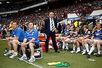 Photo: Richard Lane/Richard Lane Photography. London Wasps v Bath Rugby. Aviva Premiership. St George's Day  Game. 23/04/2011. Bath coaches, (lt to rt) Martin Haag, Steve Meehan and Ian McGeechan.