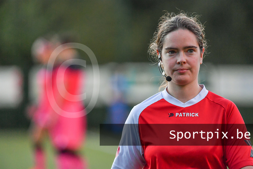 referee Irmgard Van Meirevenne pictured before a female soccer game between KRC Genk Ladies and Sporting Charleroi  on the first matchday of the 2020 - 2021 season of Belgian Women's SuperLeague , friday 28 of August 2020  in Genk , Belgium . PHOTO SPORTPIX.BE | SPP | STIJN AUDOOREN