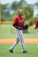 GCL Twins shortstop Royce Lewis (4) in between innings during the first game of a doubleheader against the GCL Rays on July 18, 2017 at Charlotte Sports Park in Port Charlotte, Florida.  GCL Twins defeated the GCL Rays 11-5 in a continuation of a game that was suspended on July 17th at CenturyLink Sports Complex in Fort Myers, Florida due to inclement weather.  (Mike Janes/Four Seam Images)