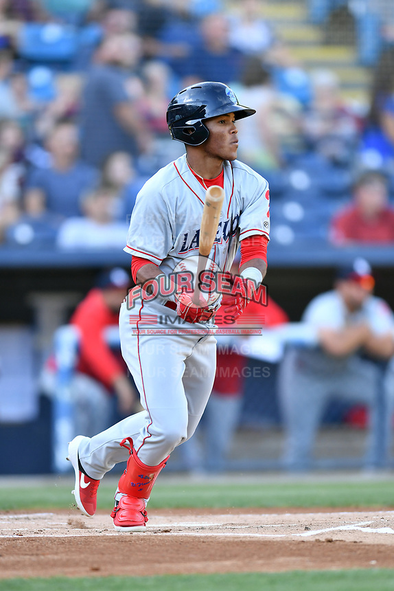 Lakewood BlueClaws Luis Garcia (3) swings at a pitch during a game against the Asheville Tourists at McCormick Field on June 14, 2019 in Asheville, North Carolina. The BlueClaws defeated the Tourists 7-5. (Tony Farlow/Four Seam Images)