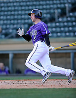 Center fielder Will Muzika (2) of the Furman Paladins hits in a game against the Miami (Ohio) Redhawks on Sunday, February 17, 2013, at Fluor Field at the West End in Greenville, South Carolina. Muzika was named to the coaches' preseason All-SoCon second team. Furman won, 6-5. (Tom Priddy/Four Seam Images)