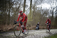 Alexander Kristoff (NOR/Katusha) over the infamous cobbles of sector 18: Trouée d'Arenberg (Bois de Wallers)<br /> <br /> recon of the 114th Paris - Roubaix
