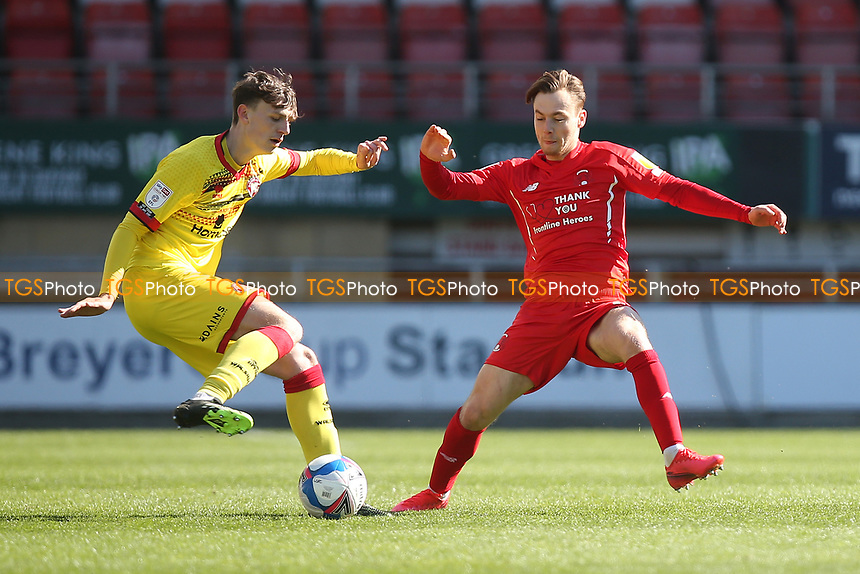 Dan Kemp of Leyton Orient and Sam Perry of Walsall during Leyton Orient vs Walsall, Sky Bet EFL League 2 Football at The Breyer Group Stadium on 5th April 2021