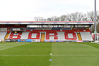 General view of the Lamex Stadium The Comet News Paper during Stevenage vs Barrow, Sky Bet EFL League 2 Football at the Lamex Stadium on 27th March 2021