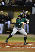 Siena Saints infielder Jordan Bishop (4) at bat during the opening game of the season against the UCF Knights on February 13, 2015 at Jay Bergman Field in Orlando, Florida.  UCF defeated Siena 4-1.  (Mike Janes/Four Seam Images)