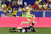Harrison, NJ - Wednesday July 06, 2016: Miguel Samudio, Kyle Reynish during a friendly match between the New York Red Bulls and Club America at Red Bull Arena.