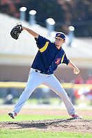 State College Spikes pitcher Austin Gomber (48) delivers a pitch during a game against the Batavia Muckdogs on June 22, 2014 at Dwyer Stadium in Batavia, New York.  State College defeated Batavia 10-3.  (Mike Janes/Four Seam Images)