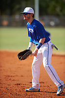 Illinois College Blueboys first baseman Seth Woollen (33) during a game against the Edgewood Eagles on March 14, 2017 at Terry Park in Fort Myers, Florida.  Edgewood defeated Illinois College 11-2.  (Mike Janes/Four Seam Images)