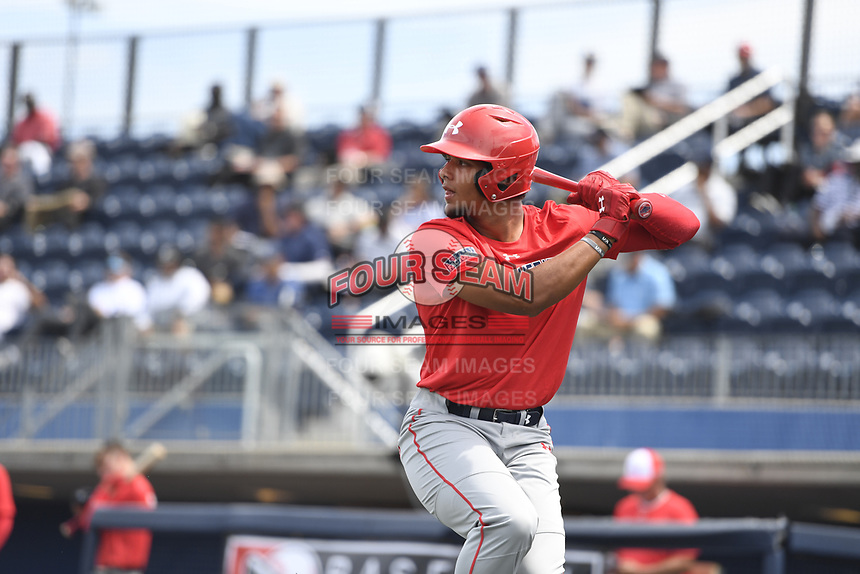 TEMPORARY UNEDITED FILE:  Image may appear lighter/darker than final edit - all images cropped to best fit print size.  <br /> <br /> Under Armour All-American Game presented by Baseball Factory on July 19, 2018 at Les Miller Field at Curtis Granderson Stadium in Chicago, Illinois.  (Mike Janes/Four Seam Images) Andre Tarver is a pitcher from Ringgold High School in Ringgold, Georgia committed to Mississippi State.