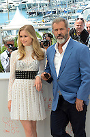 Erin Moriarty Mel Gibson attend the 'Blood Father' photocall during the 69th annual Cannes Film Festival at Palais des Festivals on May 21, 2016 in Cannes, France.