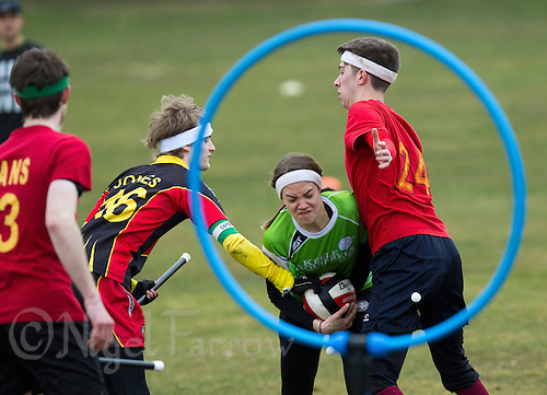 08 MAR 2015 - NOTTINGHAM, GBR - Hannah Watts from Keele Squirrels tries to force her way through to goal during the 2015 British Quidditch Cup match against Reading Rocs at Woollaton Hall and Deer Park in Nottingham, Great Britain (PHOTO COPYRIGHT © 2015 NIGEL FARROW, ALL RIGHTS RESERVED)