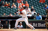 Ben Haefner (6) of the Sam Houston State Bearkats follows through on his swing against the Vanderbilt Commodores in game one of the 2018 Shriners Hospitals for Children College Classic at Minute Maid Park on March 2, 2018 in Houston, Texas. The Bearkats walked-off the Commodores 7-6 in 10 innings.   (Brian Westerholt/Four Seam Images)