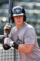 Infielder Reed Gamache (40) of the Columbia Fireflies works out before a game against the Lexington Legends on Friday, April 21, 2017, at Spirit Communications Park in Columbia, South Carolina. Columbia won, 5-0. (Tom Priddy/Four Seam Images)