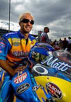 Oct. 31, 2008; Las Vegas, NV, USA: NHRA pro stock motorcycle rider Matt Smith during qualifying for the Las Vegas Nationals at The Strip in Las Vegas. Mandatory Credit: Mark J. Rebilas-
