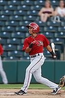 Jacob Cordero #2 of the AZL Diamondbacks bats against the AZL Angels at Tempe Diablo Stadium on July 14, 2013 in Tempe, Arizona. AZL Angels defeated the AZL Diamondbacks, 5-3. (Larry Goren/Four Seam Images)