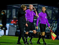 21st November 2020; Adams Park Stadium, Wycombe, Buckinghamshire, England; English Football League Championship Football, Wycombe Wanderers versus Brentford; Brentford manager Thomas Frank speaks to referee Lee Mason at full time.
