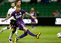 23rd May 2021; HBF Park, Perth, Western Australia, Australia; A League Football, Perth Glory versus Macarthur; Andy Keogh of Perth Glory has a shot that goes wide as Perth look for a winner