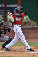 Elizabethton Twins shortstop Nick Gordon #9 swings at a pitch during a game against the  Bristol Pirates at Joe O'Brien Field June 30, 2014 in Elizabethton, Tennessee. The Twins defeated the Pirates 8-5 in game one of a double header. (Tony Farlow/Four Seam Images)