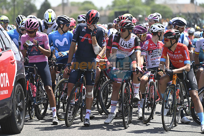 After 2km the stage was neutralized due to a crash and the new race start was given at 13:55 during Stage 15 of the 2021 Giro d'Italia, running 147km from Grado to Gorizia, Italy. 23rd May 2021.  <br /> Picture: LaPresse/Fabio Ferrari | Cyclefile<br /> <br /> All photos usage must carry mandatory copyright credit (© Cyclefile | LaPresse/Fabio Ferrari)
