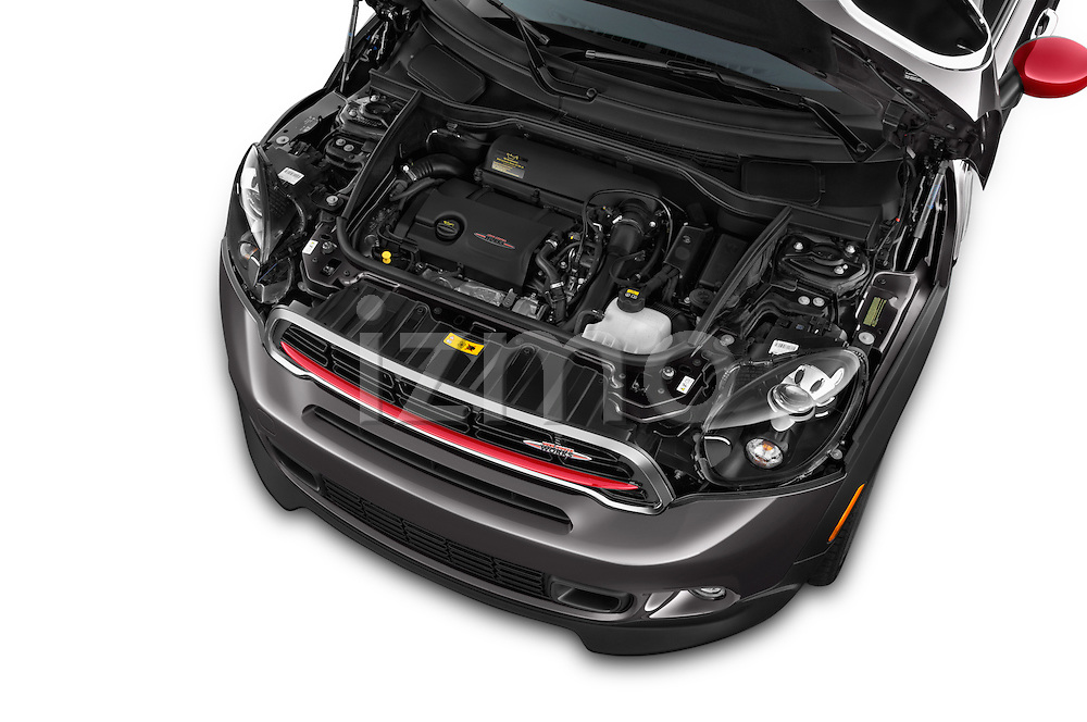 Car Stock 2015 MINI Countryman John Cooper Works 5 Door Hatchback Engine high angle detail view