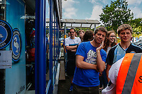 Eager supporters queue to get into the club shop during the 2016/17 Kit Launch of Wycombe Wanderers to the public at Adams Park, High Wycombe, England on 10 July 2016. Photo by David Horn.