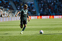 ST PAUL, MN - AUGUST 14: Julian Araujo #2 of the Los Angeles Galaxy with the ball during a game between Los Angeles Galaxy and Minnesota United FC at Allianz Field on August 14, 2021 in St Paul, Minnesota.