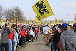 Huge crowds await the riders on Sector 10 Mons-en-Pevele during the 113th edition of the Paris-Roubaix 2015 cycle race held over the cobbled roads of Northern France. 12th April 2015.<br /> Photo: Eoin Clarke www.newsfile.ie