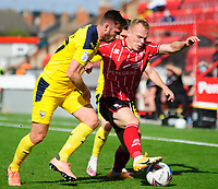 Lincoln City's Anthony Scully battles with Oxford United's James Henry<br /> <br /> Photographer Andrew Vaughan/CameraSport<br /> <br /> The EFL Sky Bet League One - Saturday 12th September  2020 - Lincoln City v Oxford United - LNER Stadium - Lincoln<br /> <br /> World Copyright © 2020 CameraSport. All rights reserved. 43 Linden Ave. Countesthorpe. Leicester. England. LE8 5PG - Tel: +44 (0) 116 277 4147 - admin@camerasport.com - www.camerasport.com - Lincoln City v Oxford United
