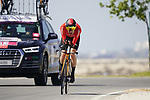 Wout Poels (NED) Bahrain Victorious during Stage 2 of the 2021 UAE Tour an individual time trial running 13km around  Al Hudayriyat Island, Abu Dhabi, UAE. 22nd February 2021.  <br /> Picture: Eoin Clarke | Cyclefile<br /> <br /> All photos usage must carry mandatory copyright credit (© Cyclefile | Eoin Clarke)