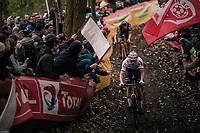European CX Champion Mathieu van der Poel (NED/Corendon-Circus) leading the race<br /> <br /> Men's race<br /> Superprestige Asper-Gavere 2018 (BEL)