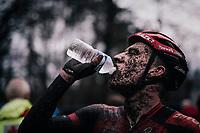 Ryan Kamps (NED/Pauwels Sauzen-Bingoal) post race thirst<br /> <br /> Men's Race at the X2O Herentals Cross 2020 (BEL)<br /> <br /> ©kramon
