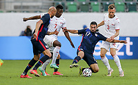 ST. GALLEN, SWITZERLAND - MAY 30: Sebastian Lletget #17 of the United States battles for the ball during a game between Switzerland and USMNT at Kybunpark on May 30, 2021 in St. Gallen, Switzerland.