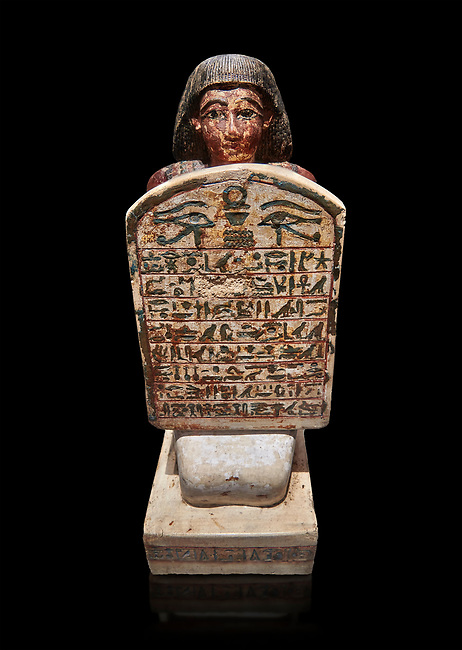 Ancient Egyptian stelophorus statue of Amenemipet, limestone, New Kingdom, 18th Dynasty, (1539-1292 BC), Deir el Medina, tomb of Ibu. Egyptian Museum, Turin. Cat 3038. black background